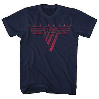 Van Halen - Classic Red Logo Men's Small T-Shirt - Navy Blue