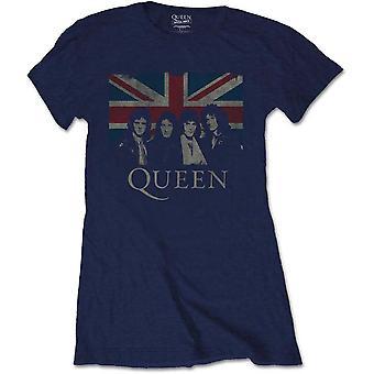 Queen - Vintage Union Jack Kvinners XX-Store T-skjorte - Marineblå