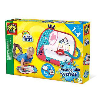SES Creative Children's My First Colouring with Water Colouring Mat Elephant Activity Set
