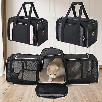 Grey new dual expandabale and portable cat bag breathable pet carrier bag outdoor travel backpack for cat and dog transparent space fa1305