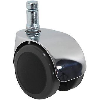 5X Design-Rollen 11mm / 50mm Büro-Stuhl-Rollen für Hartböden Chrom (5er Pack)