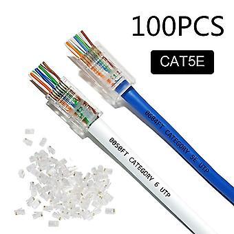 50Pcs/100pcs cat5e cat6 plug rj45 connector network cable modular 8p8c connector end pass through z hotsale rj45