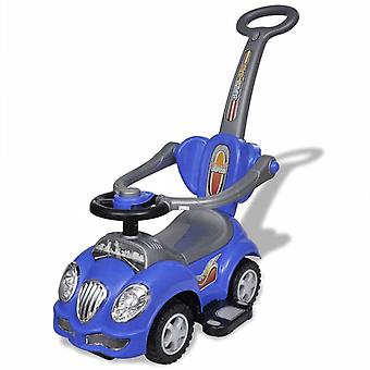 Children's Ride-on Car with Push Bar Blue Kids Toddler Riding Vehicle