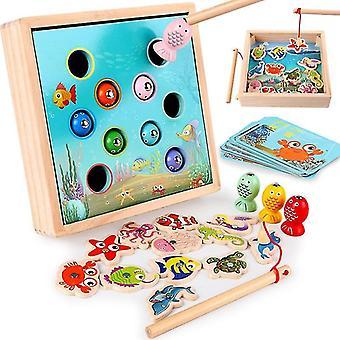 3d-דגים חינוך צעצוע עץ מגנטי משחק דיג