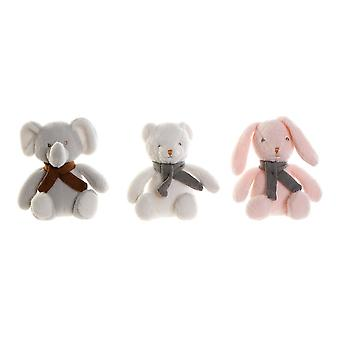 Pörröinen lelu DKD Home Sisustus Valkoinen Harmaa Vaaleanpunainen Polyesteri eläimet (3 kpl) (20 x 10 x 22 cm)