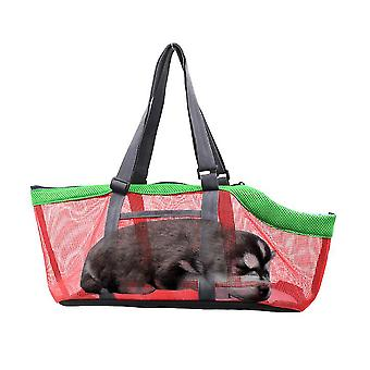 Green red breathable pet handbag panorama cat carrier net bag foldable zf1273
