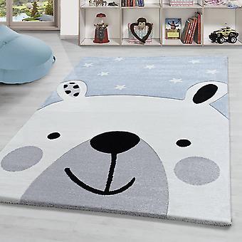 Alfombra para niños Bear Motif Alfombra de habitación para niños de alta calidad Suave pila corta Azul blanco