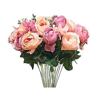 3 kpl keinotekoista silkkiä 15 pään kukka fake ruusu kimppu vaaleanpunainen