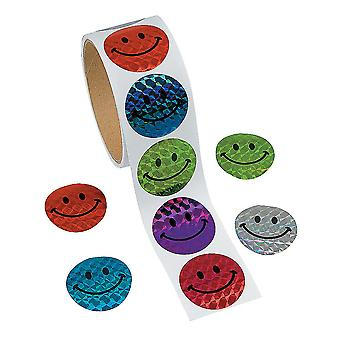 LAST FEW - Roll of 100 Smiley Face Laser Stickers for Kids   Childrens Craft Stickers