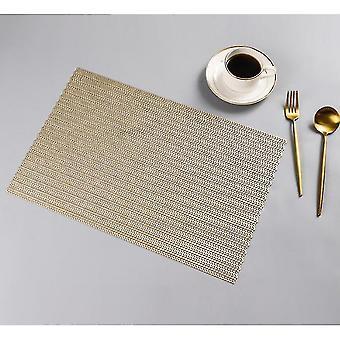 Placemats washable woven vinyl non-slip heat resistant placemat 30x45cm light gold