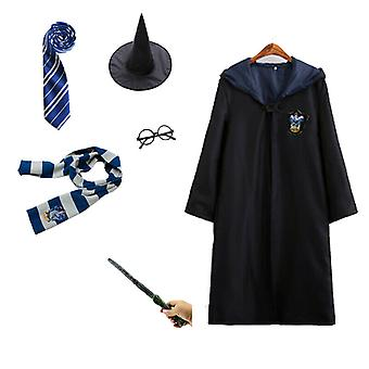 6pcs Harry Potter Wizard Costume Set Halloween Gryffindor Robe Cloak Character Outfit