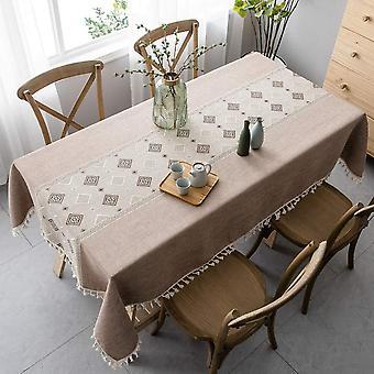 Elegante chinesisch bedruckte Tischdecke, spleißsichere Tischdecke, rechteckige Tischdecke, Garten Teetisch Dekoration (140 * 140cm, Kaffeefarbe)