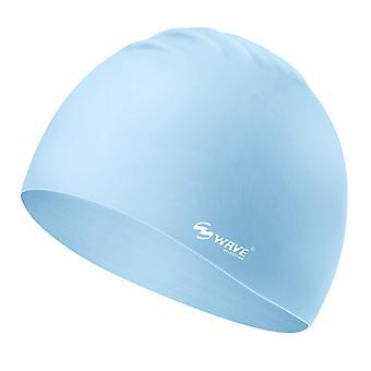 Wave Blue Swimming Cap