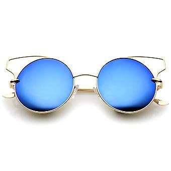Women's Full Metal Open Design Mirrored Lens Round Cat Eye Sunglasses 55mm