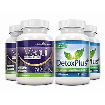 Maqui Berry og Detox rense Combo Pack - 2 måneders forsyning - Antioxidant og kolon rensnings - Evolution slankende