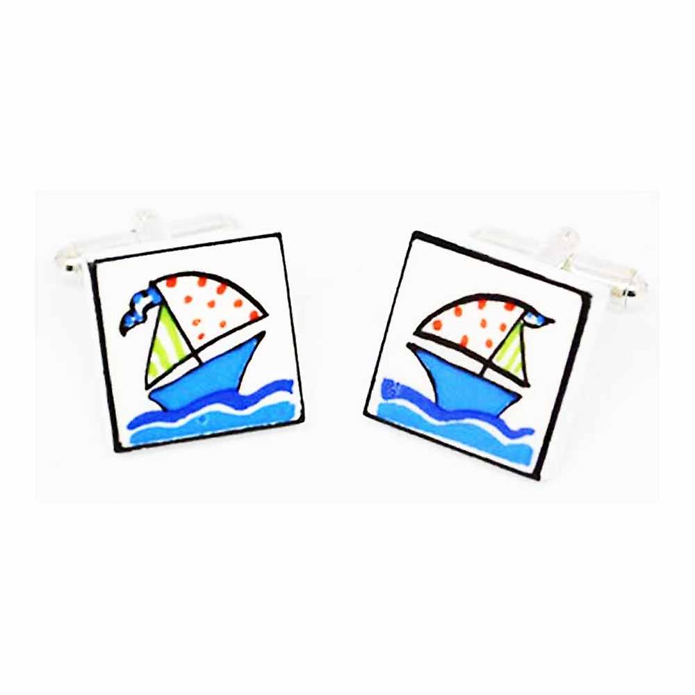 Sonia Spencer Blue Yacht Cufflinks - English Bone China Hand Crafted Cuff Links
