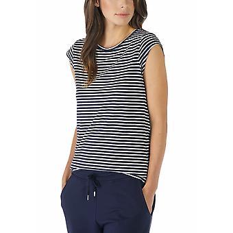 Mey 16817-408 Women's Night2Day nacht blauw effen kleur Pajama afgetopt mouw pyjama's Top