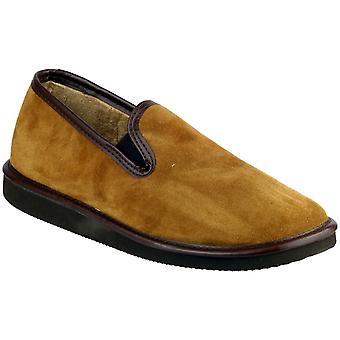 Mirak Mens Barton slip-on in Suede foderato mocassino stile pantofola marrone