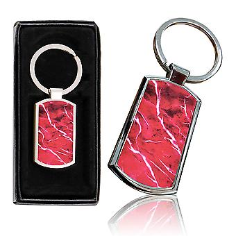 i-Tronixs - Premium Marble Design Chrome Metal Keyring with Free Gift Box (1-Pack) - 0034
