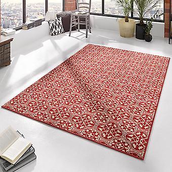Designer velour carpet pattern coral cream | 102414