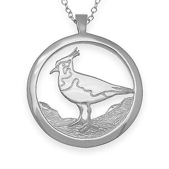 Sterling Silver Traditional Scottish Nature In Flight Lapwing Hand Crafted Necklace Pendant