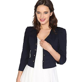 KRISP Womens Ladies Ruched 3 4 Sleeve Military Tailored Shrug Blazer Jacket Top Party