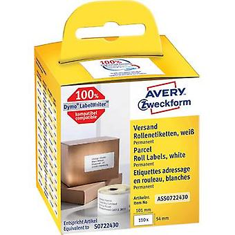 Avery-Zweckform Label roll Compatible reemplazado DYMO, Seiko 99012, S0722400 89 x 36 mm Paper White 520 uds. Etiquetas de dirección permanente AS0722400