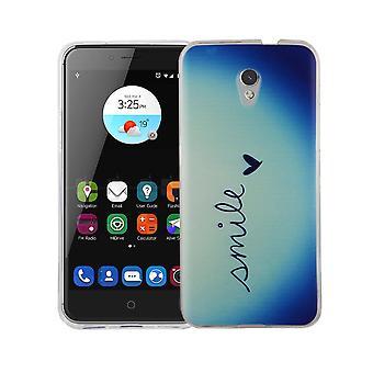 Mobiele telefoon geval voor ZTE blade V7 cover case beschermende zak motif slim siliconen TPU belettering glimlach Blau