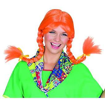 Carla lumineux orange Lady perruque avec frange et tresses Carnaval