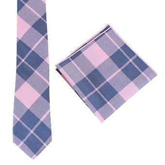 Conjunto de Knightsbridge Neckwear verificar gravata e lenço de bolso - rosa/Marinha
