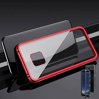 För Huawei mate 20 Pro magnet / metall / glas fall stötfångare röd / transparent fall täcka nya