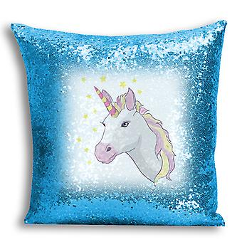 i-Tronixs - Unicorn Printed Design Blue Sequin Cushion / Pillow Cover for Home Decor - 6