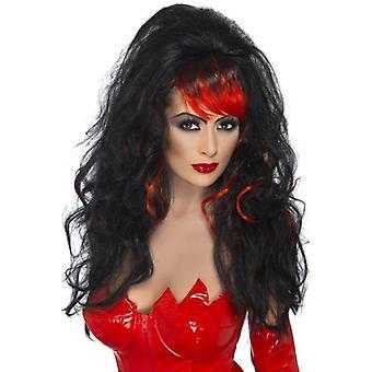 Long Black Wavy Wig, Seductress Wig, Halloween