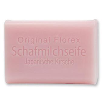 Florex Schafmilchseife - Japanische Kirsche - orientalisch zarte Blüten mit süßem Duft zum Frühling 100 g