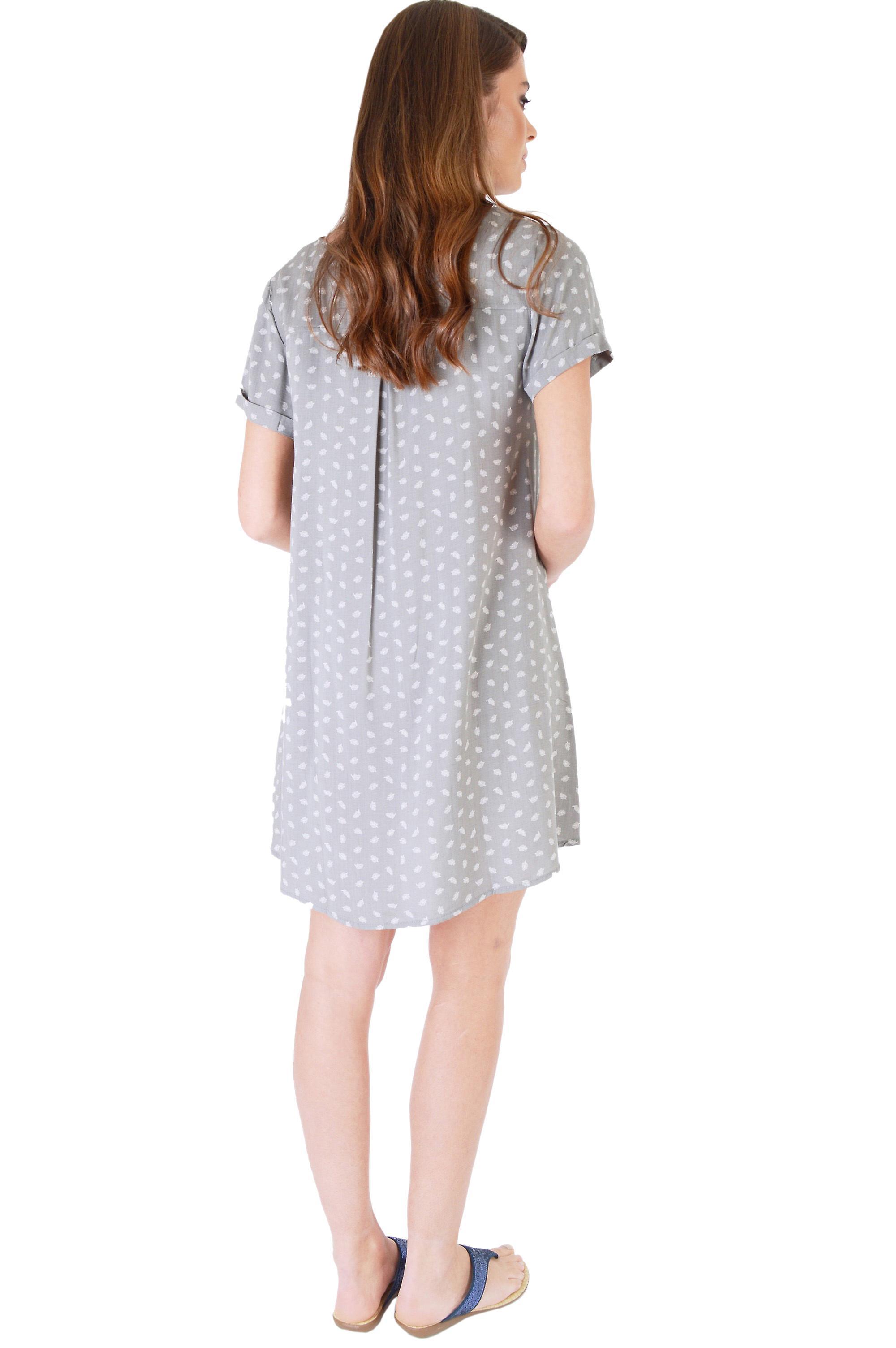SHN Cuffed Slip Dress In Grey With White Leaf Print