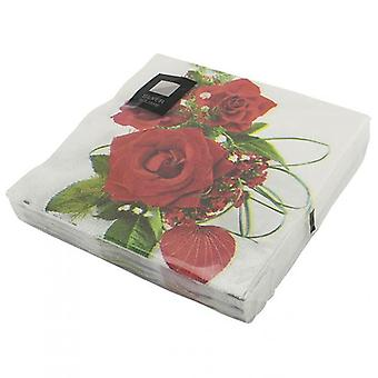 Pack of 20 Large Napkins Design 3ply Red Rose 33cm Square Disposable Party Accessory