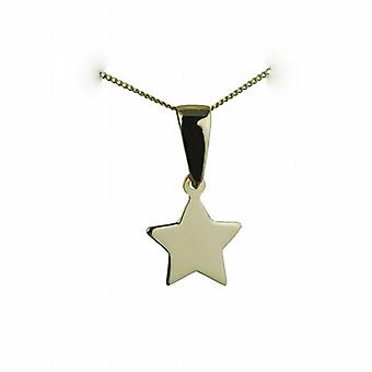 9ct Gold 11x12mm plain Star Pendant with bail loop and a curb Chain 20 inches