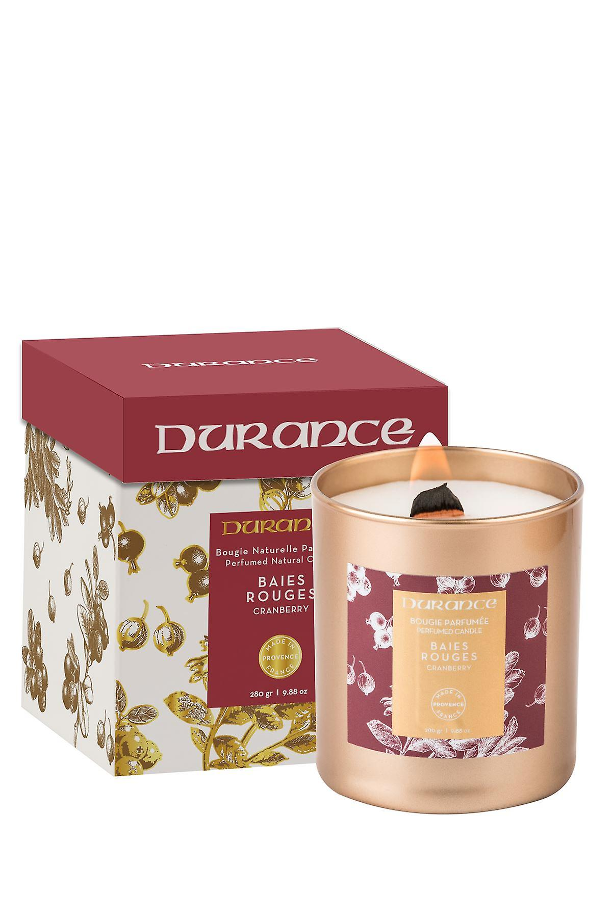 Durance Perfumed Wooden Wick Candle 280g - Cranberry