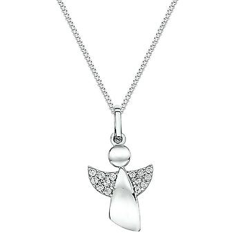 Bella Cubic Zirconia Set Angel Pendant - Silver