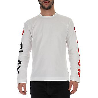 Comme Des Garçons Play P1t2621 Men's White Cotton Sweater