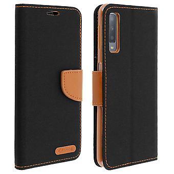 Lona estilo tecido flip caso carteira para Samsung Galaxy a7 2018-preto