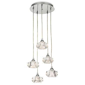 Firstlight-5 Light Ceiling Pendant Chrome, Clear Decorative Glass-4859CH