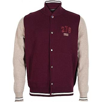 The Barbour Steve McQueen™ Collection Baseball Inspired Slate Button Thru Cardigan, Merlot