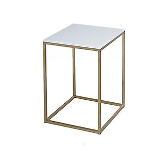 Gillmore White Glass And Gold Metal Contemporary Square Side Table