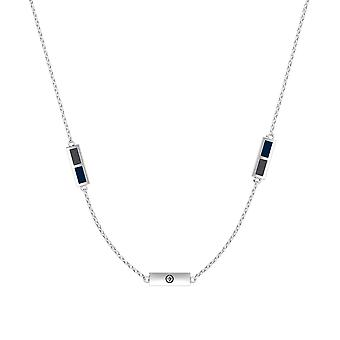 Winnipeg Jets Sterling Silver Engraved Triple Station Necklace In Grey & Blue