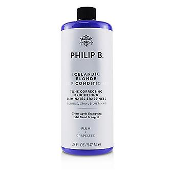 Philip B Icelandic Blonde Deep Conditioner (Tone Correcting Brightening Eliminates Brassiness - Blonde, Gray, Silver Hair) 947ml/32oz