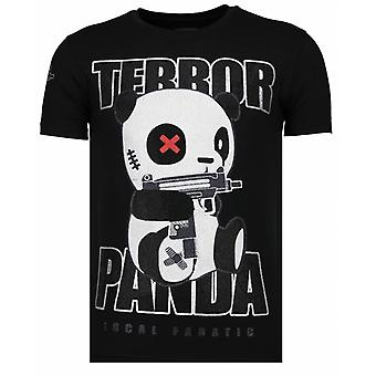 Terror Panda-rhinestone T-shirt-svart