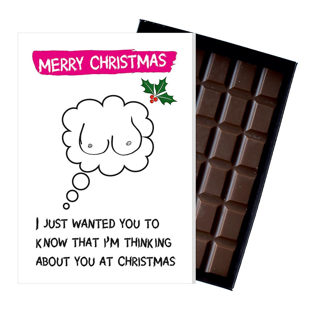 Funny Rude Christmas Gift For Men Boyfriend Chocolate Xmas Greeting Card Present for Him OD128