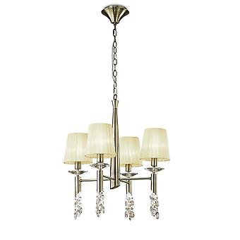 Mantra M3872 Tiffany Pendant 4+4 Light E14+G9, Antique Brass With Cream Shades & Clear Crystal