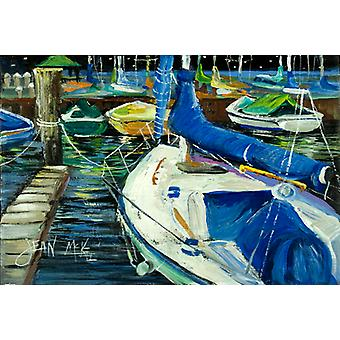 Carolines Treasures  JMK1031PLMT Night on the Docks Sailboat Fabric Placemat